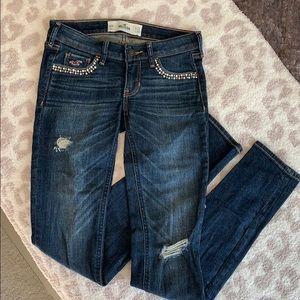 Hollister Distressed Embellished Skinny Jeans